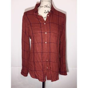 Stylus Button Down Collared Plaid Long-Sleeve Top